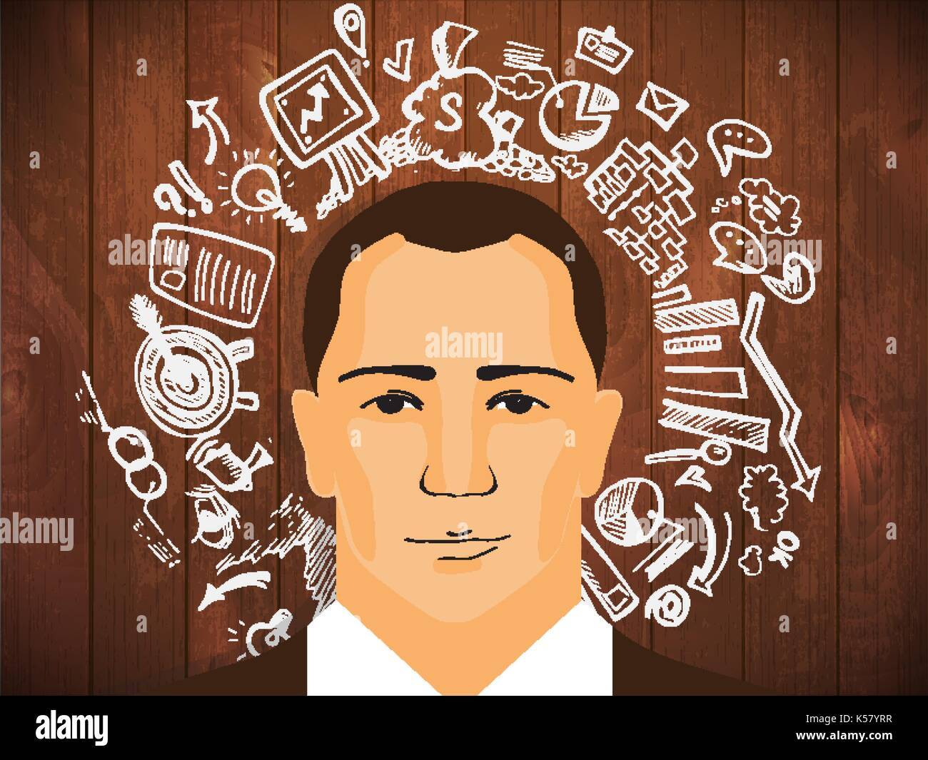 businessman portrait with success in infographics and doodle. Businessman with sketched graphic elements, man business icon - Stock Image