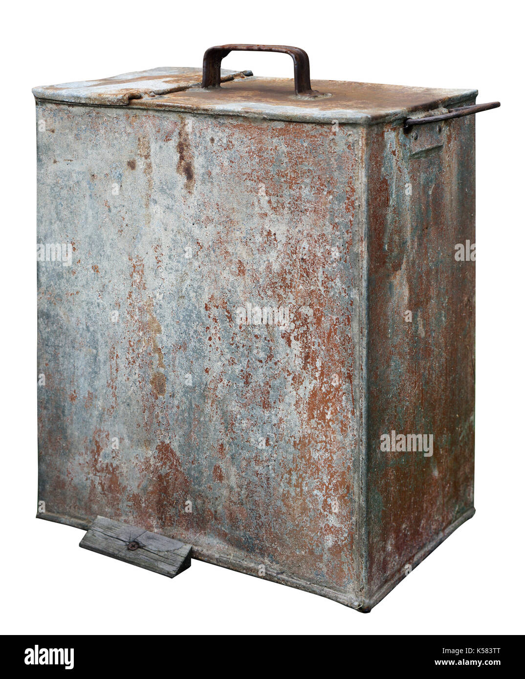 Tin galvanized rusted canister for storage of engine oil. Isolated on white vinatge industrial object - Stock Image