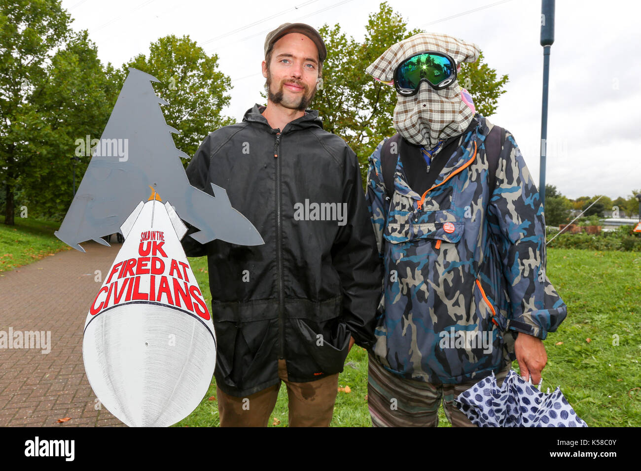 London, UK. 8th Sept, 2017. Protest at the DSEI Arms Fair. Striking Super-Villains from all over the universe gather Stock Photo