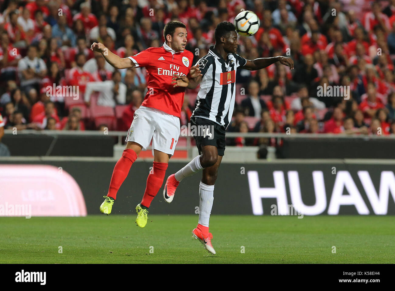 Benfica«s forward Andrija Zivkovic from Serbia (L) and Portimonense«s defender Emma Hackman from Ghana  (R) during the Premier League 2017/18 match between SL Benfica v Portimonense SC, at Luz Stadium in Lisbon on September 8, 2017. (Photo by Bruno Barros / DPI) - Stock Image