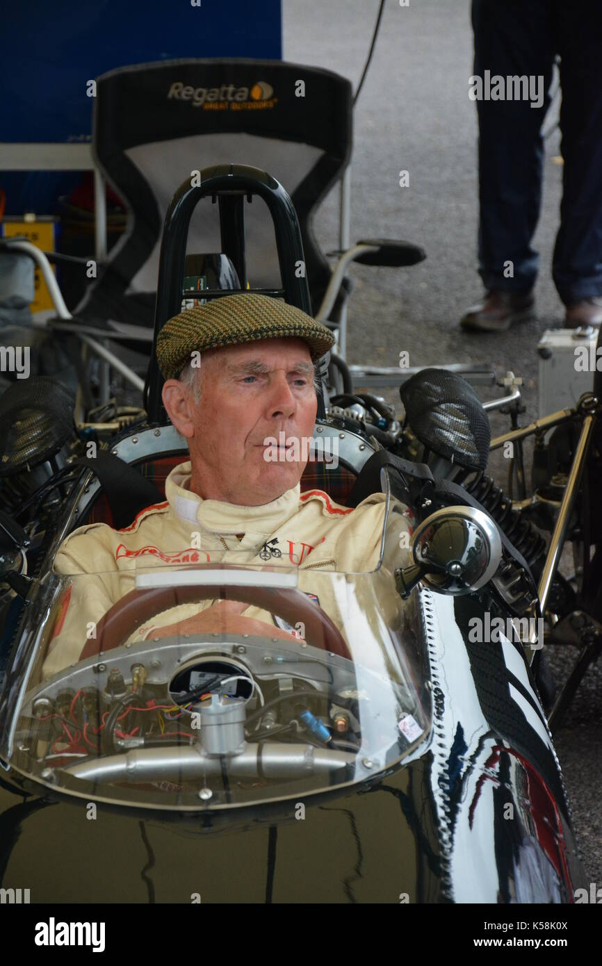 Richard Attwood in car 15. a 1965 BRM P261 Formula 1 car identical to the one he drove in 1966/7; in Paddocks; Goodwood Revival 08 Sept 2017 - Stock Image