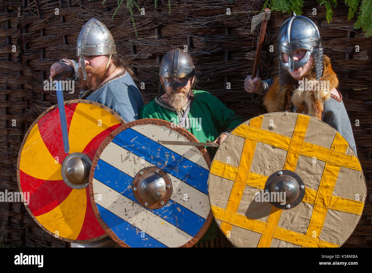 Viking warriors holding sword & shield at Largs, Scotland, UK. 9th Sep, 2017. The Battle of Largs (2 October 1263) Re-enactment event by the Swords of Dalriada, 13th Century, living history group. It was an indecisive engagement between the kingdoms of Norway and Scotland, on the Firth of Clyde near Largs, Scotland. The conflict formed part of the Norwegian expedition against Scotland in 1263, in which Haakon Haakonarson, King of Norway attempted to reassert Norwegian sovereignty over the western seaboard of Scotland. - Stock Image