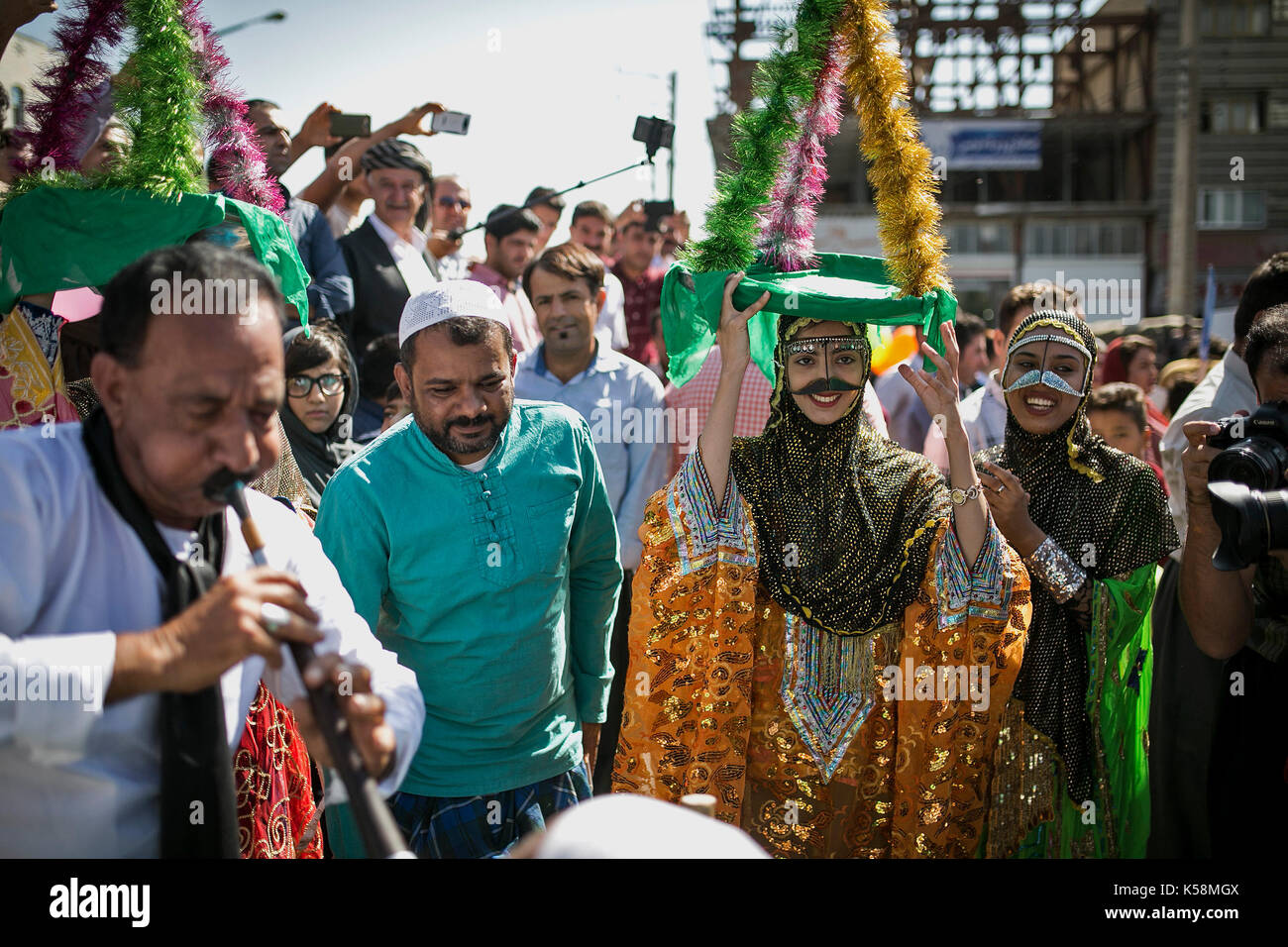 Marivan, Iran. 9th Sep, 2017. Performers take part in a parade of the 12th International Street Theater Festival in Marivan, western Iran, on Sept. 9, 2017. Credit: Ahmad Halabisaz/Xinhua/Alamy Live News - Stock Image
