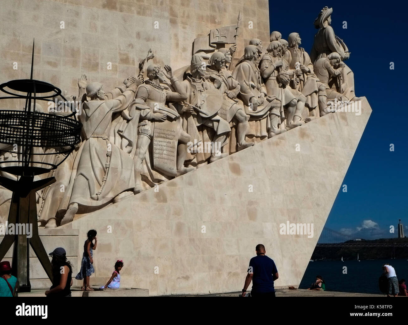 Tourists visit the Padrao dos Descobrimentos (Monument of the Discoveries) in, Belem near Lisbon, Portugal August 27, 2017.© John Voos - Stock Image