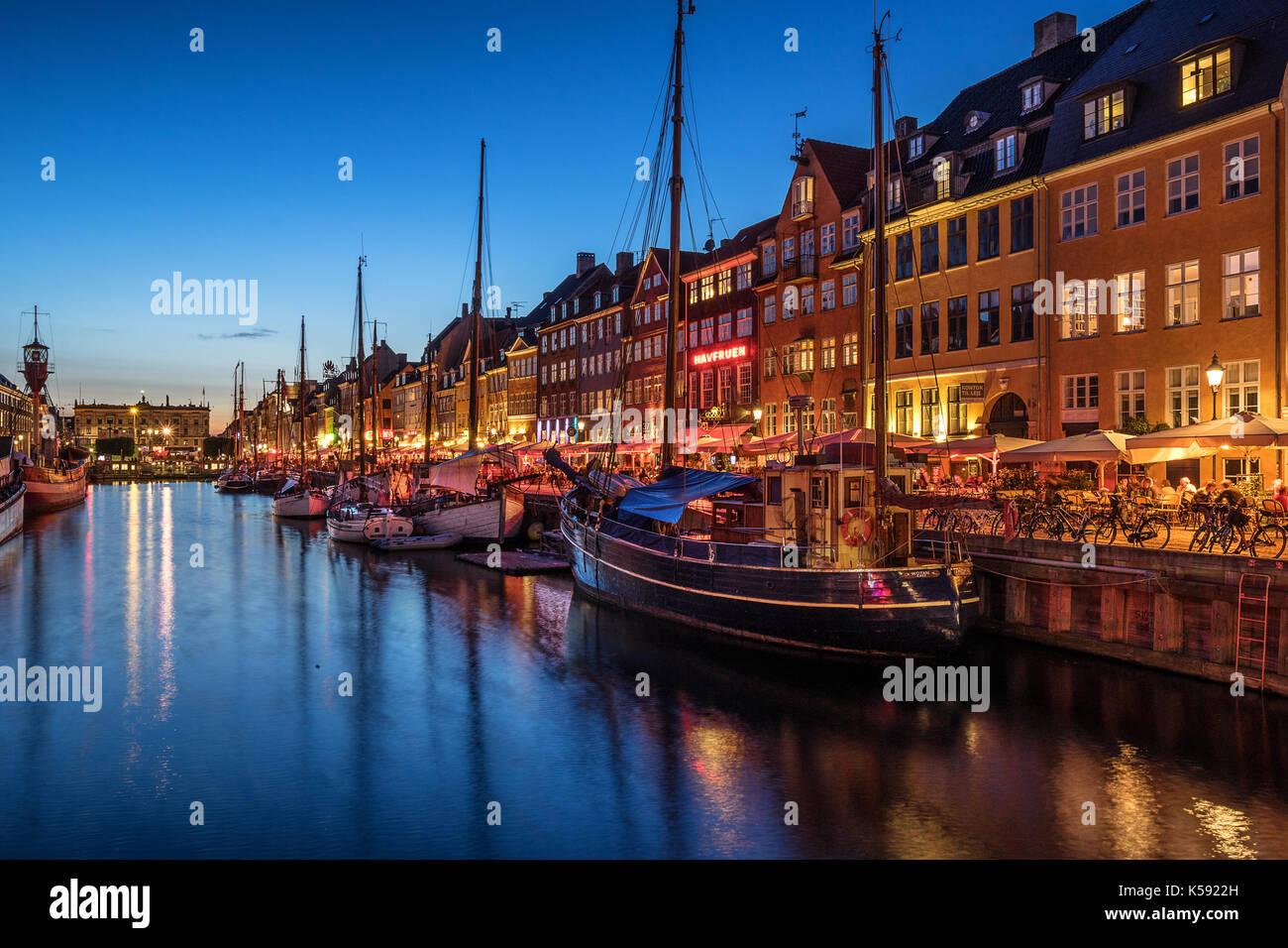Nyhavn in Copenhagen Denmark - Stock Image