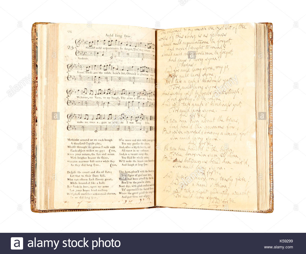 Manuscript of Auld Lang Syne. Patriotic Scots are being given the chance to sponsor one of the country's favourite - Stock Image