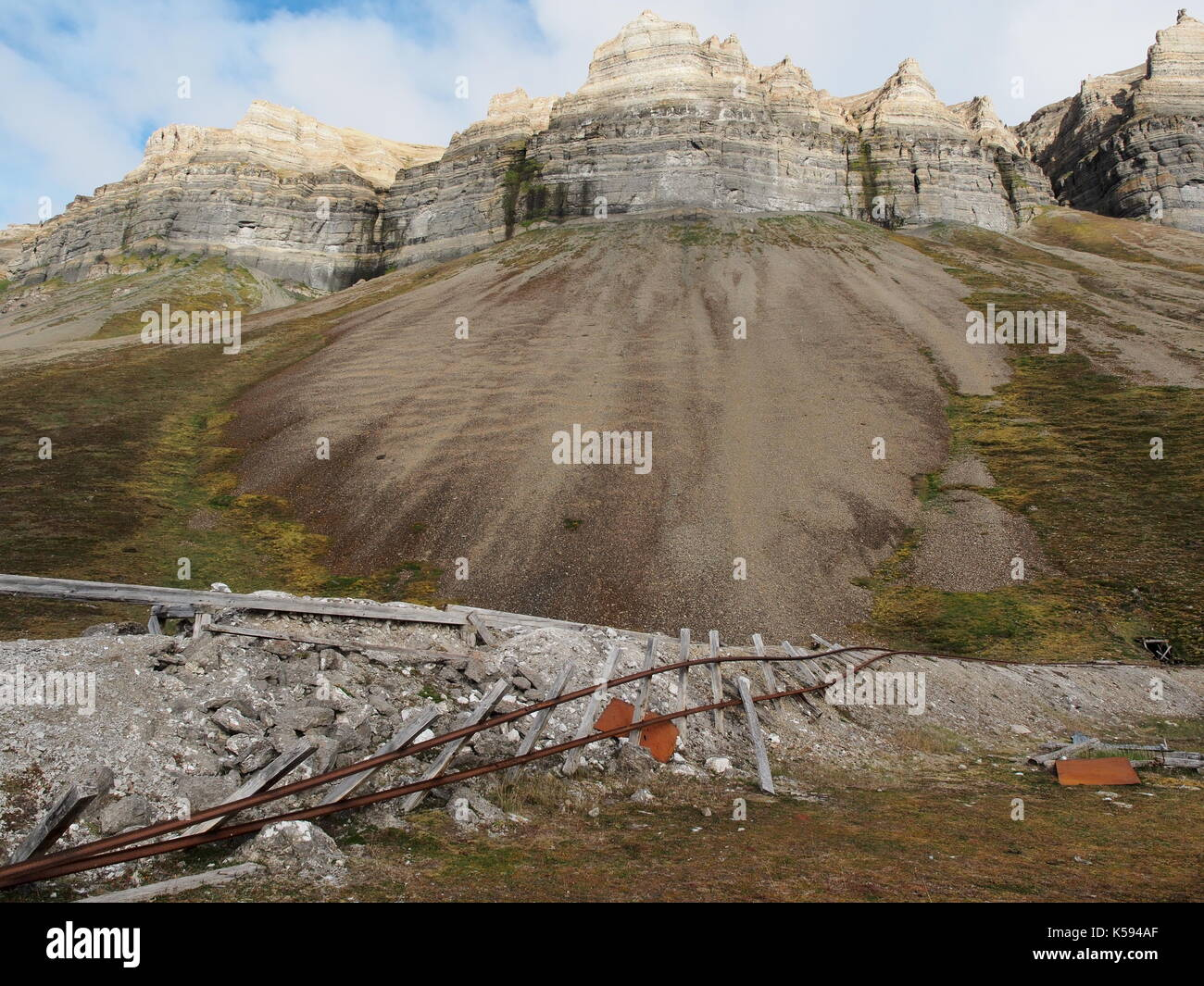 Mining remains, Skansbukta,  Svalbard, Norway - Stock Image
