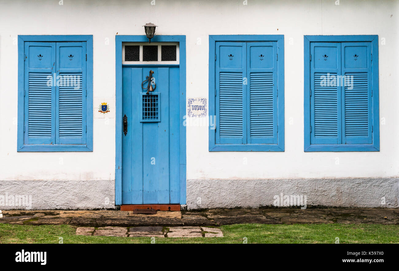 An old colonial house facade from Ilhabela, SP, Brazil Stock Photo