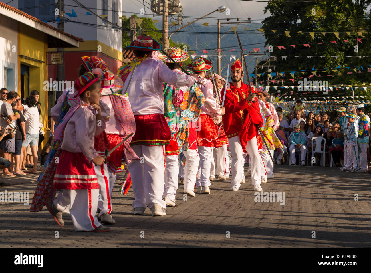 The religious festivity of Congada, from Ilhabela, SP, Brazil - Stock Image