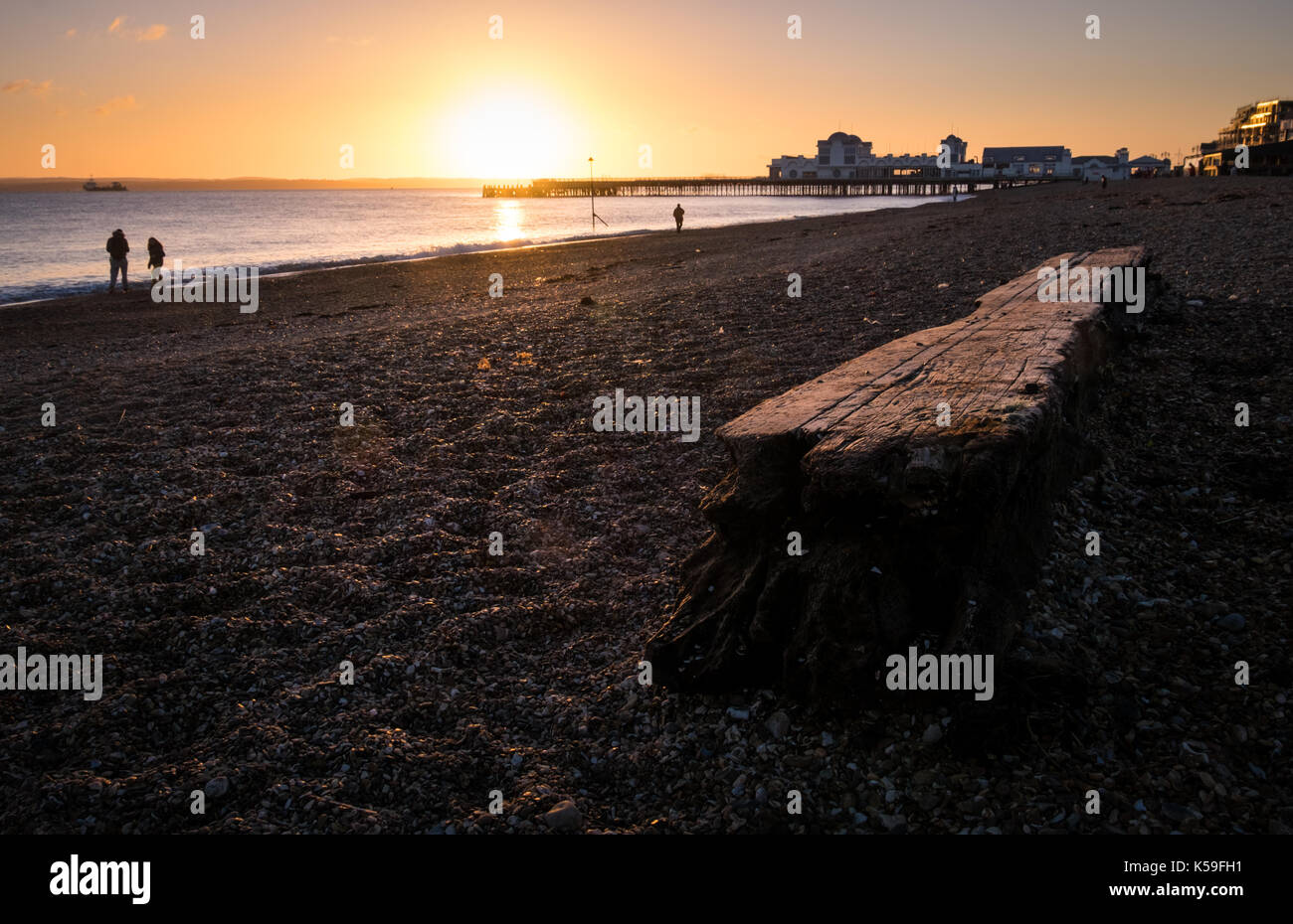 A large piece of driftwood on the beach at Southsea Beach as th Sun sets over Southsea Pier - Stock Image