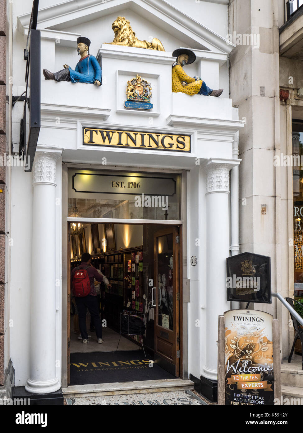 Twinings Tea historic tea store at 216 The Strand London - The oldest tea shop in London at over 300 years old - Stock Image