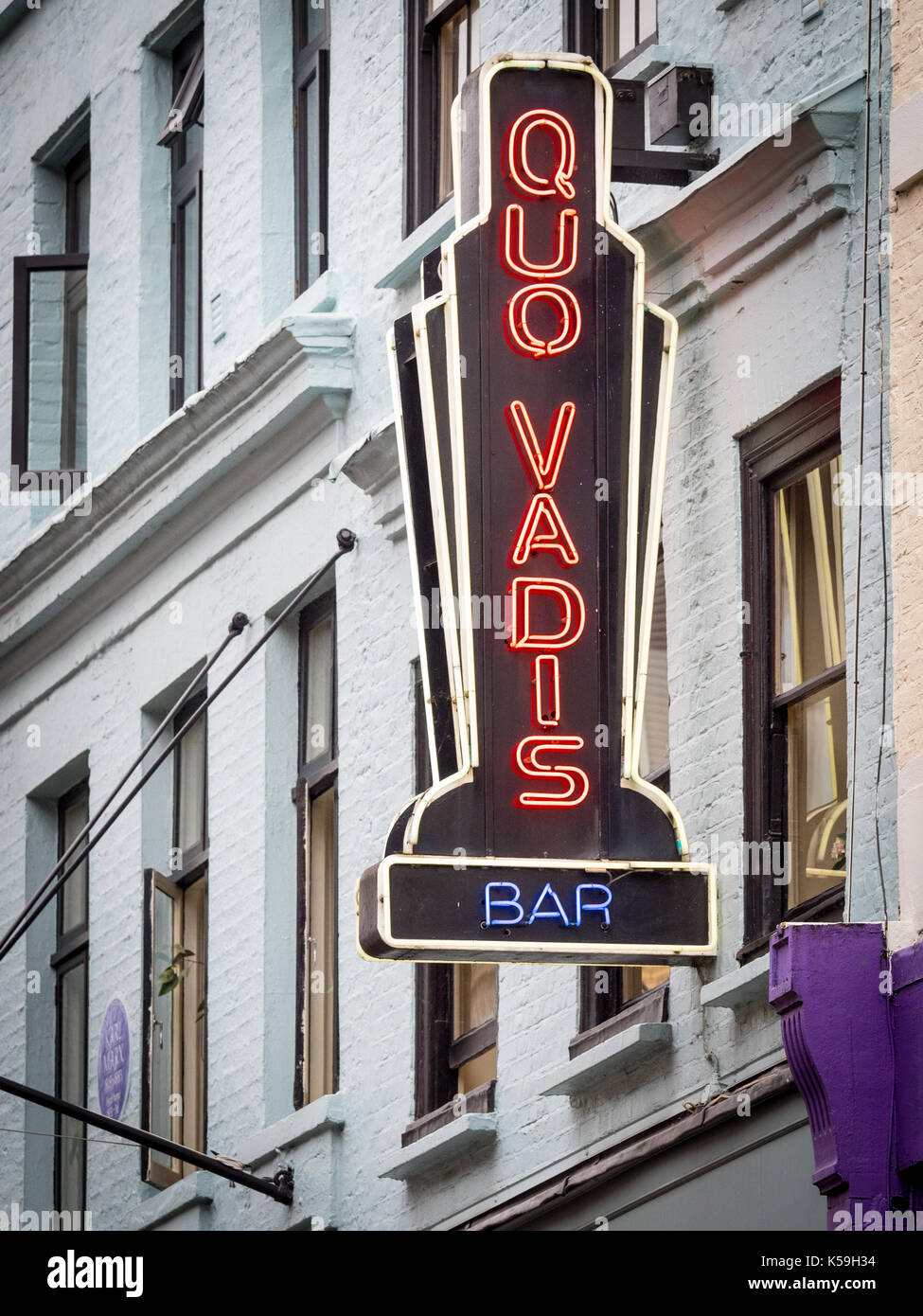 Quo Vadis Soho - Quo Vadis is a historic Soho restaurant and members' club in Dean Street, Soho. The building was once home to Karl Marx. - Stock Image