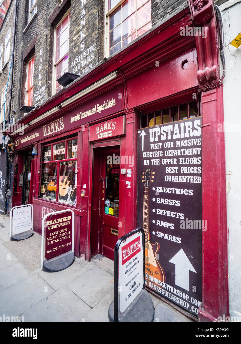 Hanks Guitar Store Shop in London's famous Demark Street in the Soho district - Stock Image
