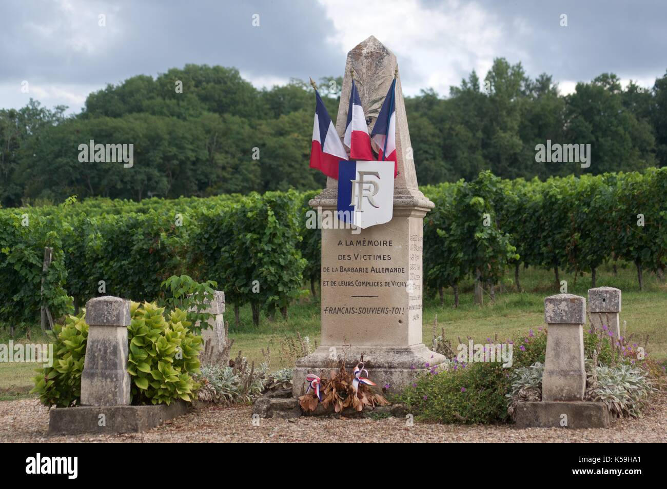 War memorial near Blasimon, France - Stock Image