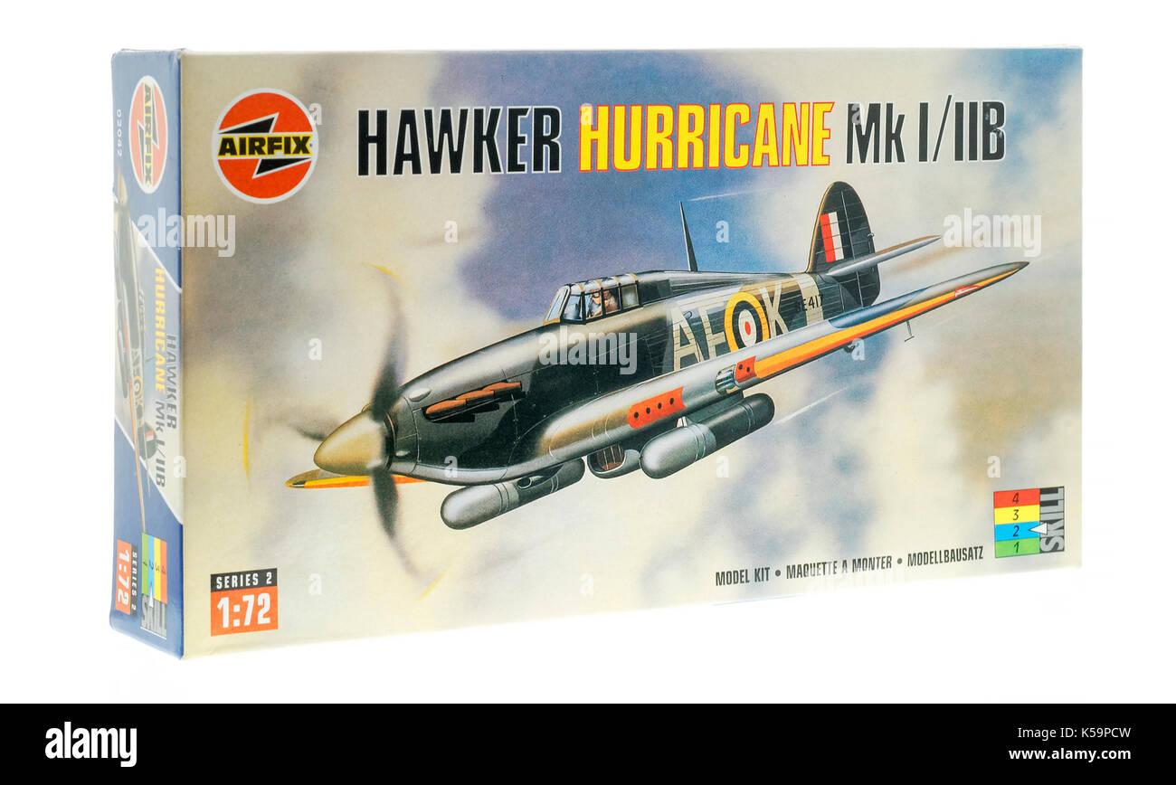 Airfix Hawker Hurricane Mk1 Fighter Plane Model - Stock Image