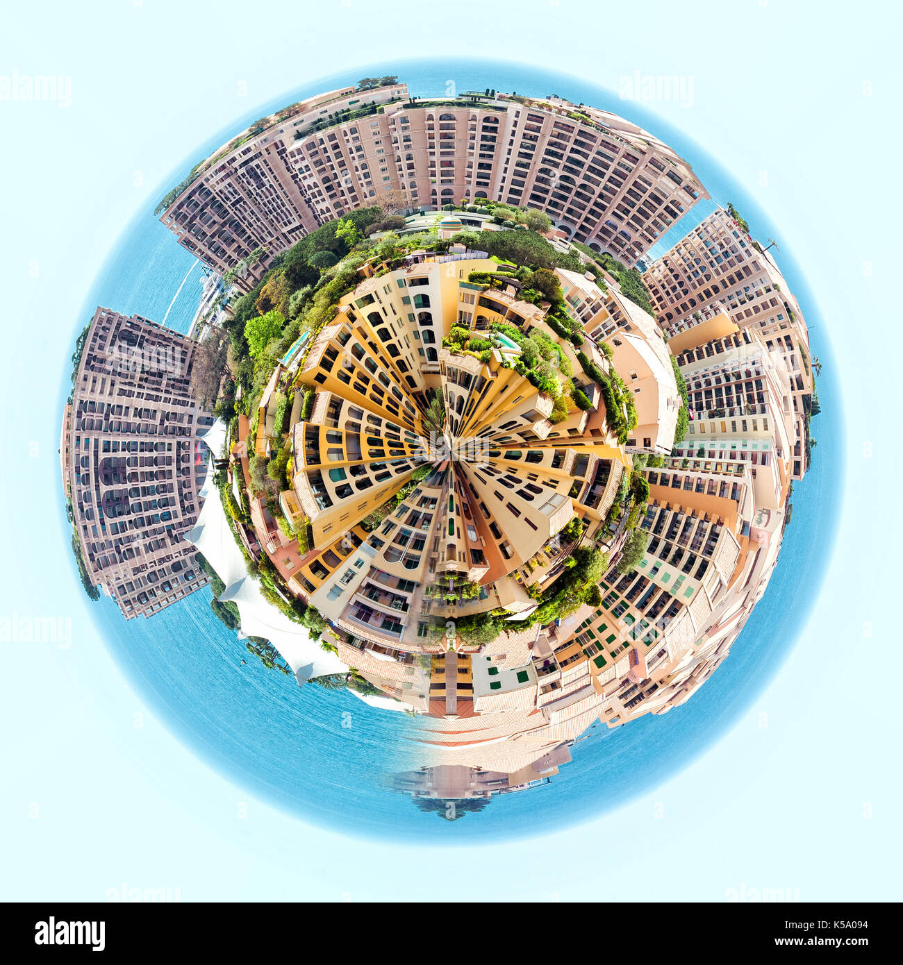Little planet 360 degree sphere. Panorama of Fontvieille. Principality of Monaco - Stock Image