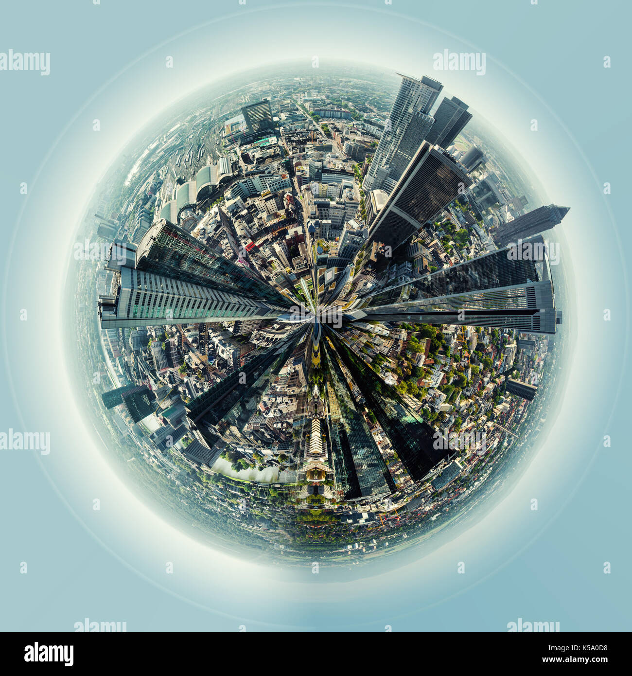 Little planet 360 degree sphere. Panoramic view of Frankfurt am Main city, Germany - Stock Image