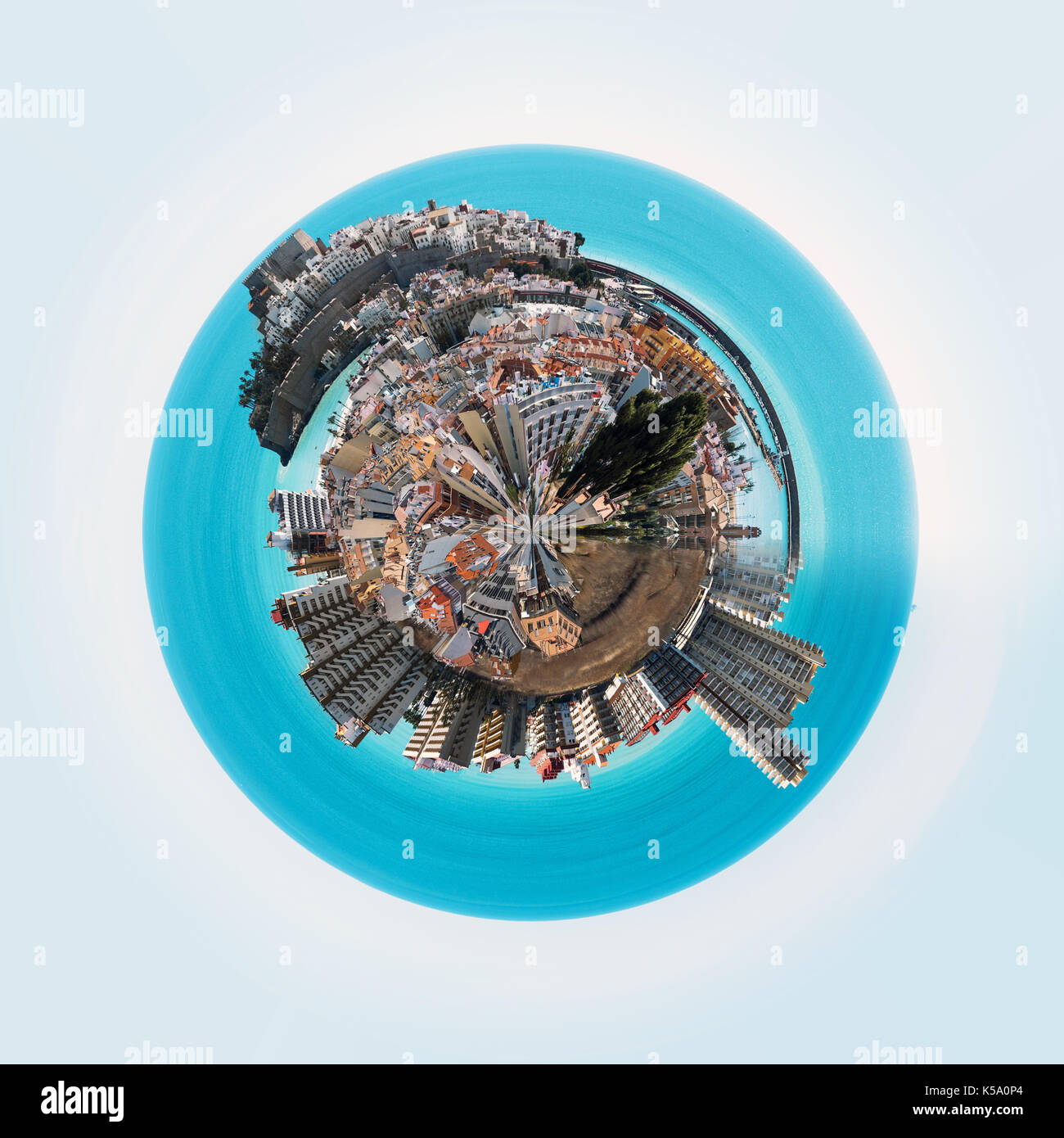 Little planet 360 degree sphere. Panorama of Peniscola town. Costa del Azahar, Province of Castellon, Valencian Community, Spain - Stock Image