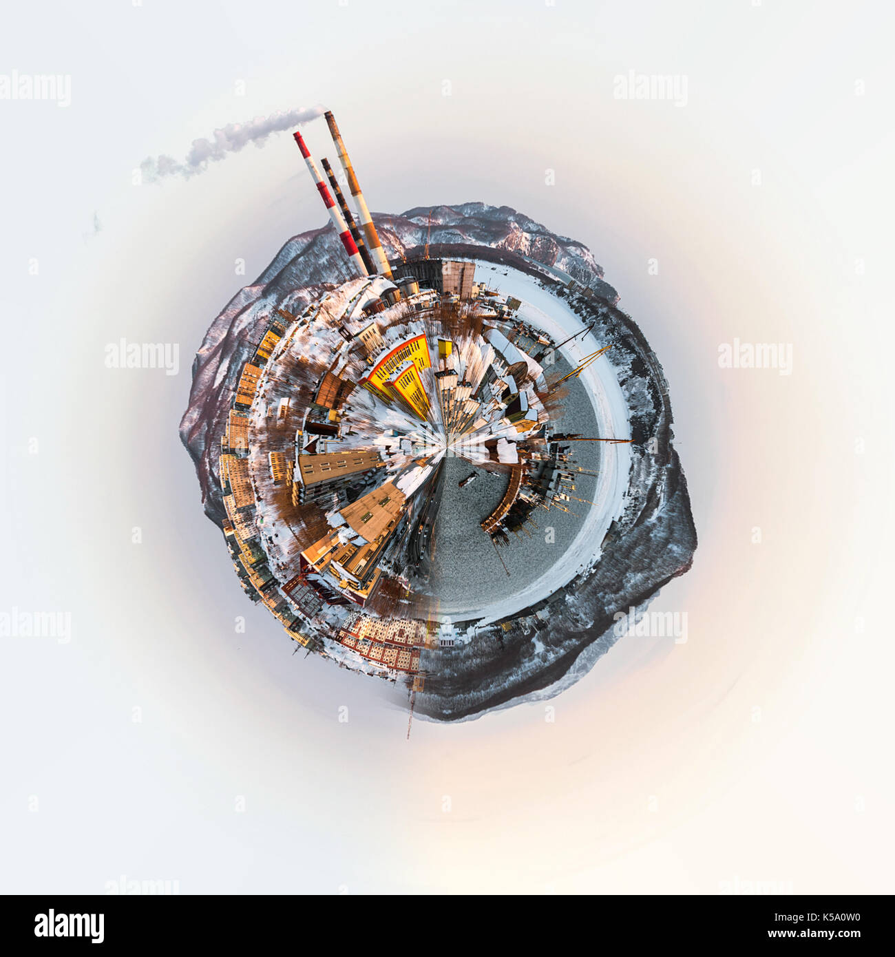 Little planet 360 degree sphere. Panoramic view of Petropavlovsk-Kamchatsky city, seaport and power plant. Far East, Russia - Stock Image