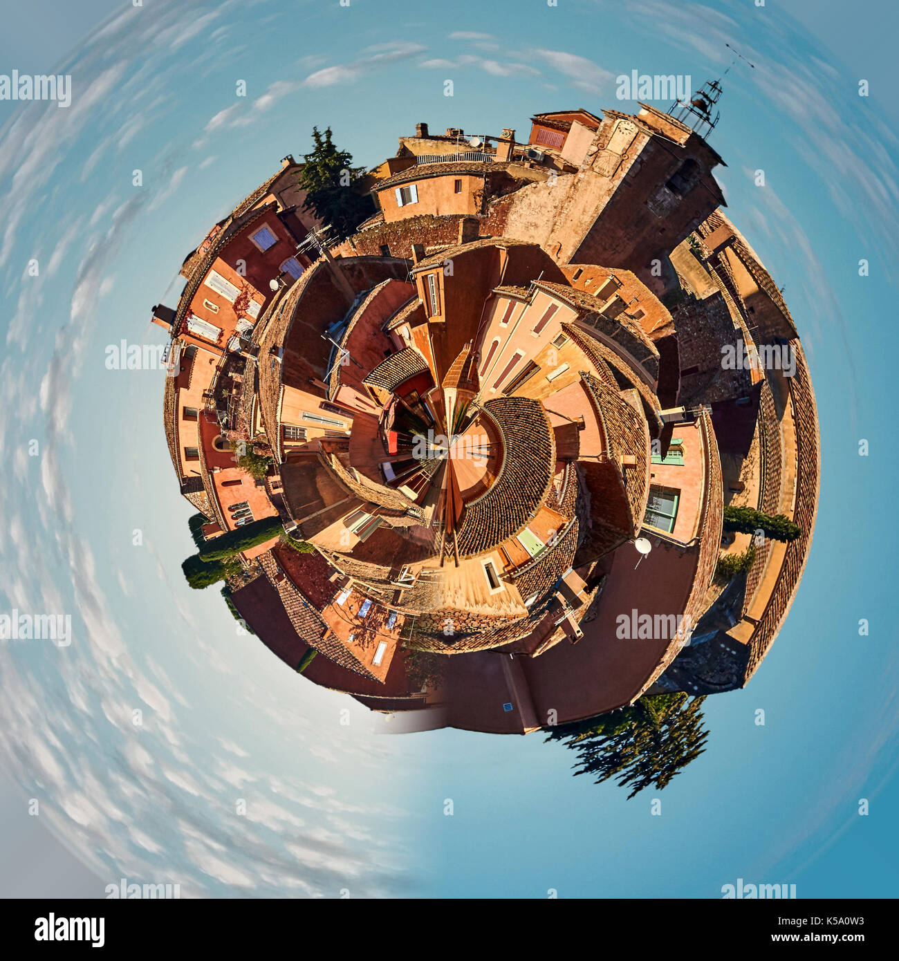Little planet 360 degree sphere. Panorama of Roussillon village. One of the most impressive villages in France - Stock Image