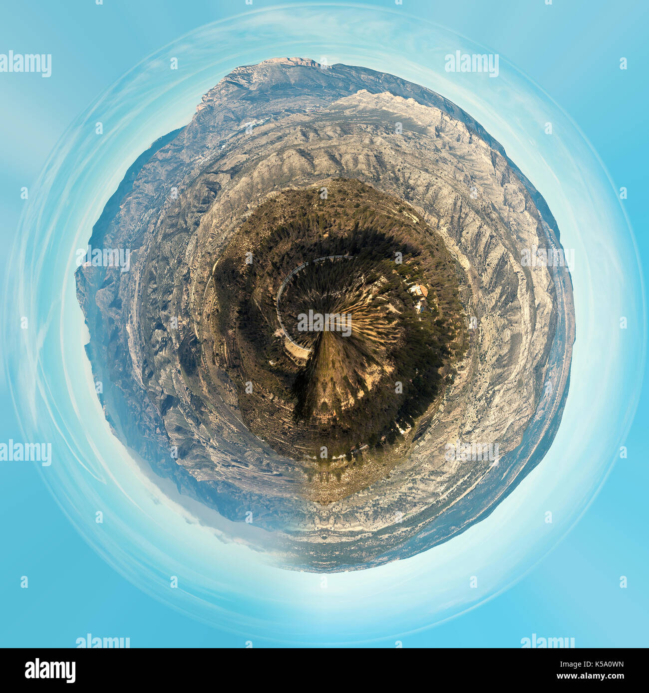 Little planet 360 degree sphere. Panorama of mountain range in Alicante. Costa Blanca, Valencia. Spain - Stock Image
