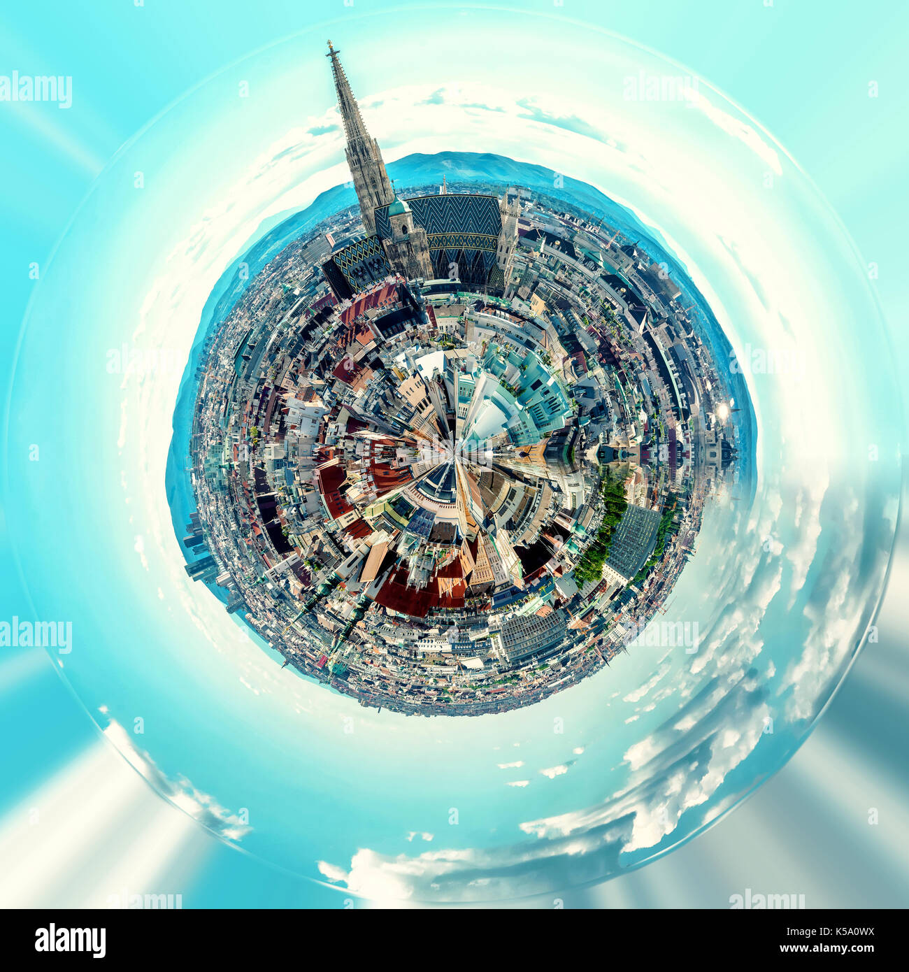 Little planet 360 degree sphere. Panoramic view of Vienna city. Austria - Stock Image