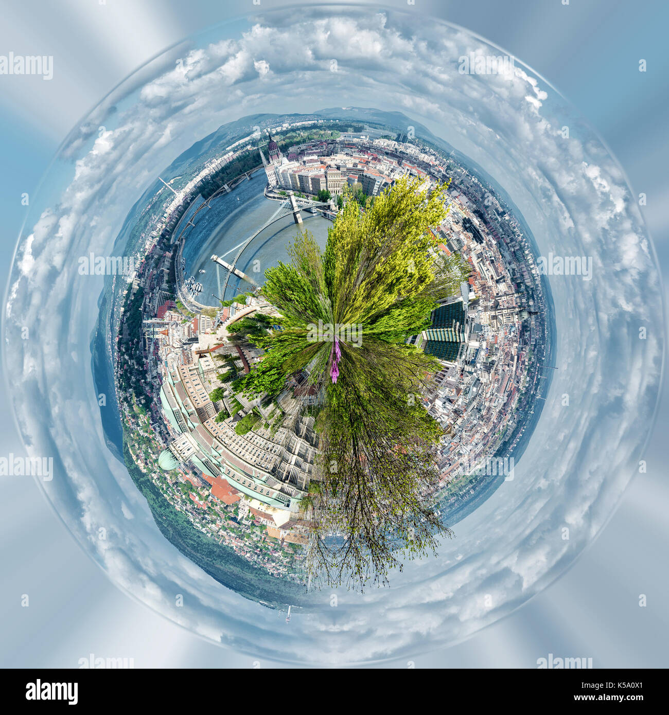 Little planet 360 degree sphere. Panoramic view of Budapest city. Hungary Stock Photo