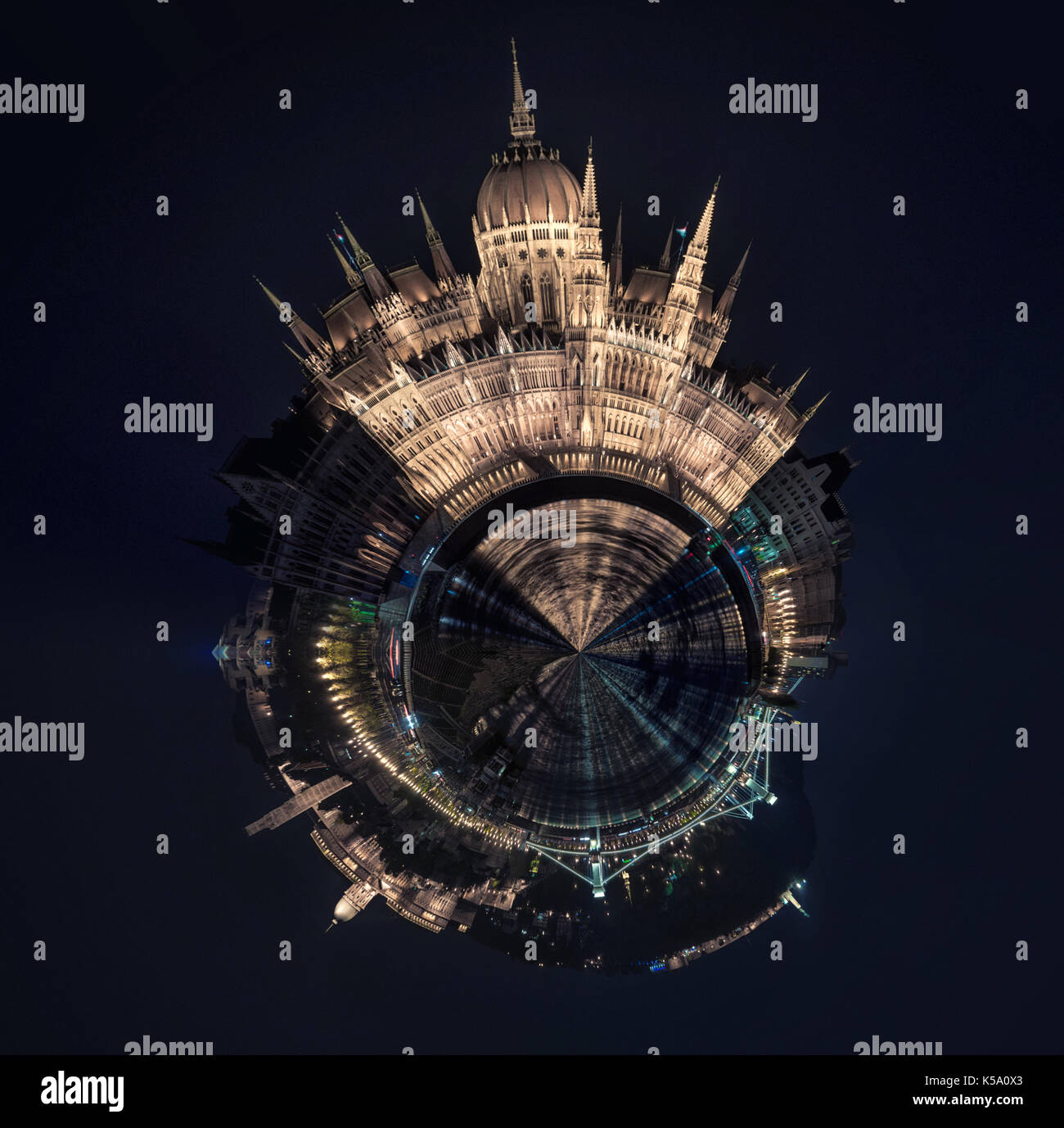 Little planet 360 degree sphere. Panorama of Budapest city at night. Hungary - Stock Image