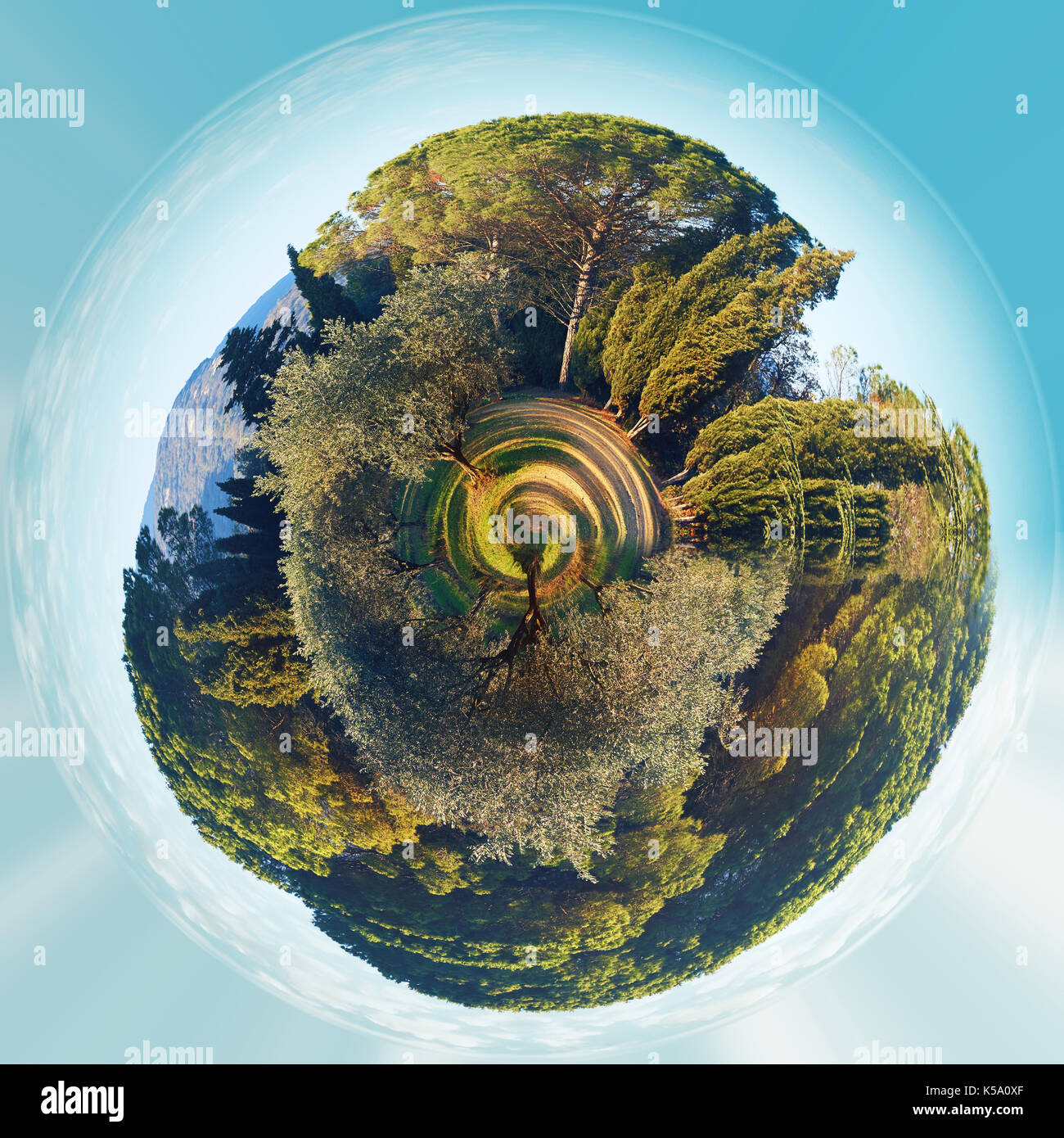 Little planet 360 degree sphere. Panorama of Lourmarin park. Provence-Alpes-Cote d'Azur. France - Stock Image