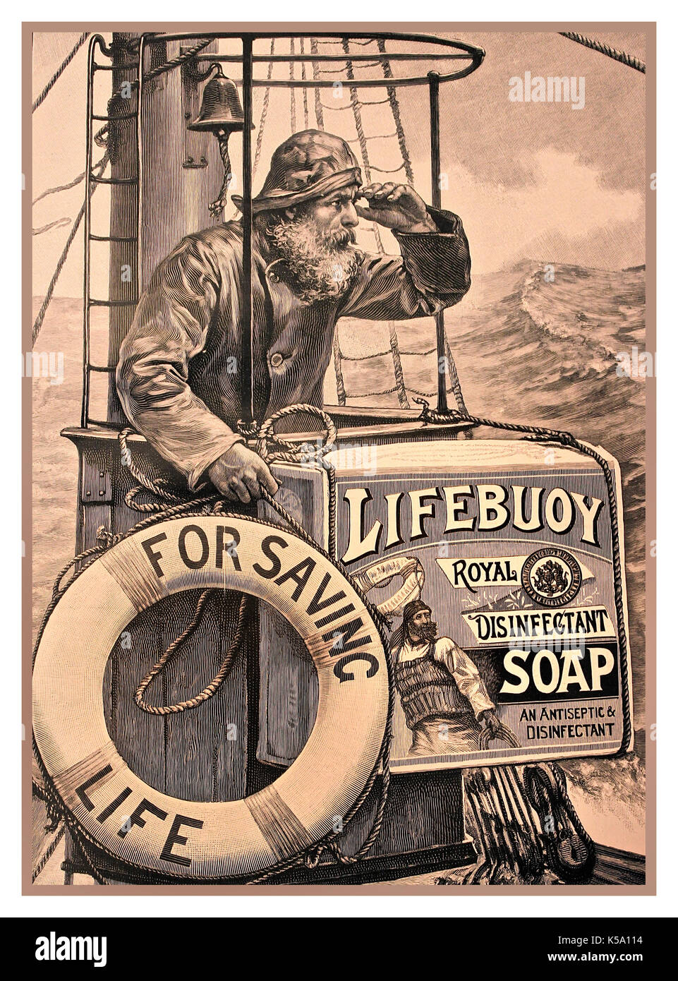 1903 Vintage advertisement for antiseptic disinfectant Lifebuoy Soap - Stock Image
