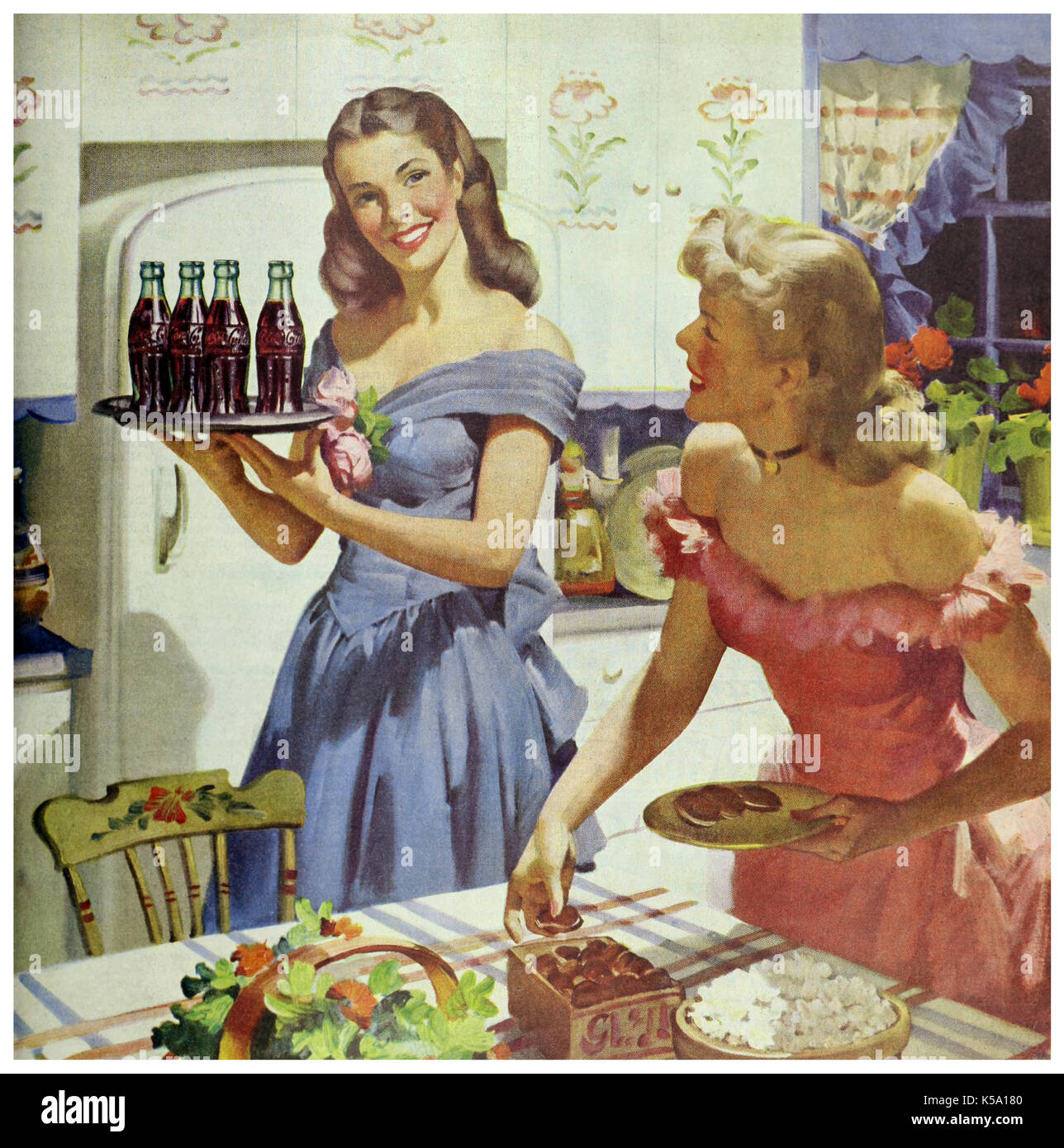 "Retro Woman In Kitchen: VINTAGE Coca Cola ADVERTISEMENT 1948 ""Hospitality In Your"