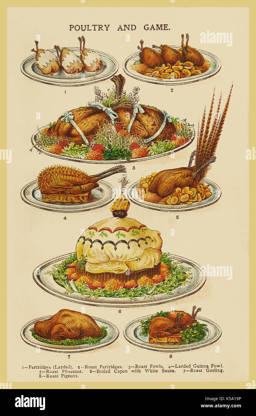 VINTAGE VICTORIAN CHRISTMAS ENTERTAINING POULTRY AND GAME VINTAGE MRS BEETON'S 1890's COOKERY BOOK ILLUSTRATION CHRISTMAS FAYRE - Stock Image