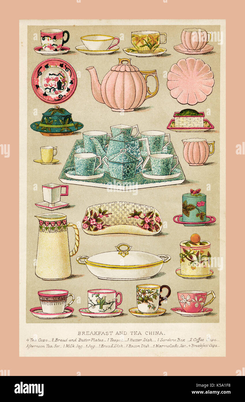 1800's vintage illustration Mrs Beeton's Household Management TRADITIONAL BREAKFAST AND TEA CHINA colour page - Stock Image