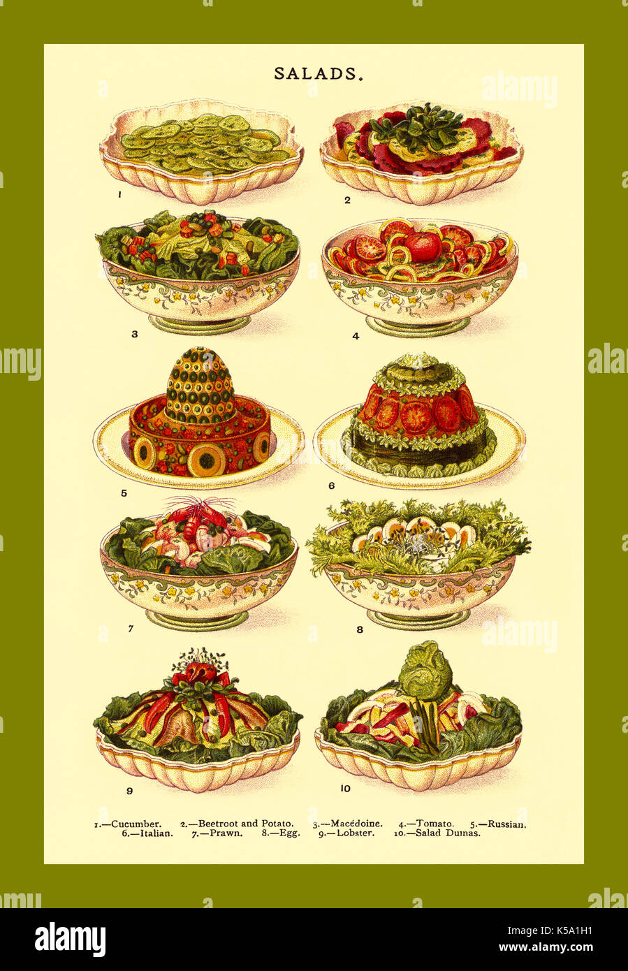 SALADS Vintage lithograph colour page illustration 1800's Mrs Beeton's cookery book - salads L-R Cucumber, Beetroot and Potato, Macedoine, Tomato, Russian, Italian, Prawn, Egg, Lobster, Salad Dumas. - Stock Image