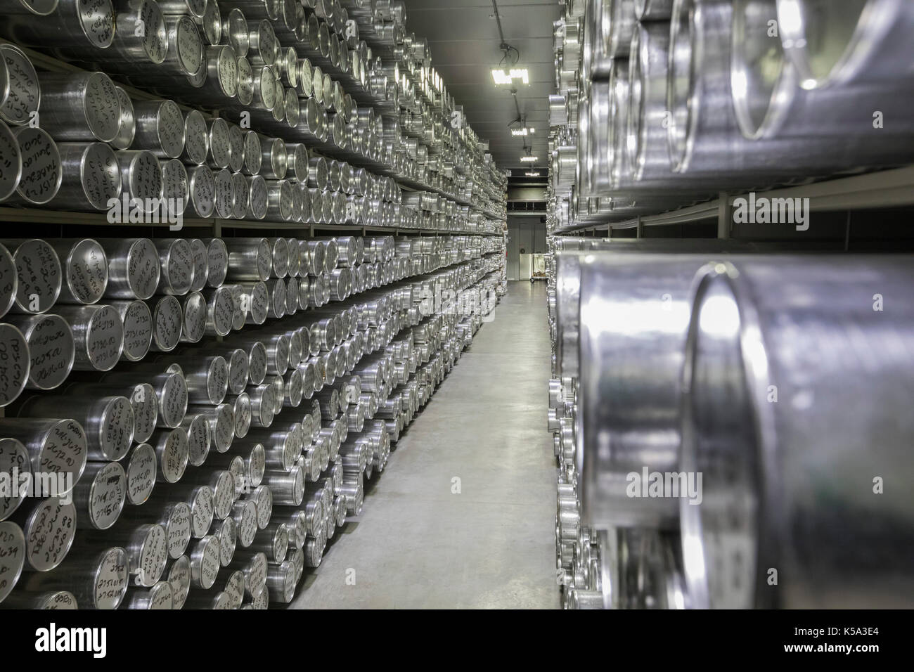 Denver, Colorado - Tubes holding ice cores stored at -36 degrees C (-33 degrees F) at the National Ice Core Laboratory. The lab stores 19,000 meters o - Stock Image