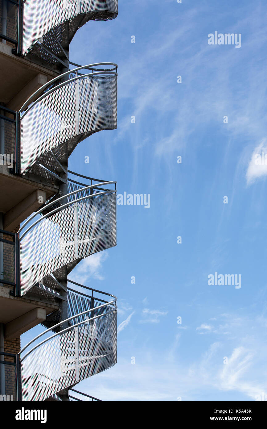 Spiral staircase and a beautiful sky Stock Photo