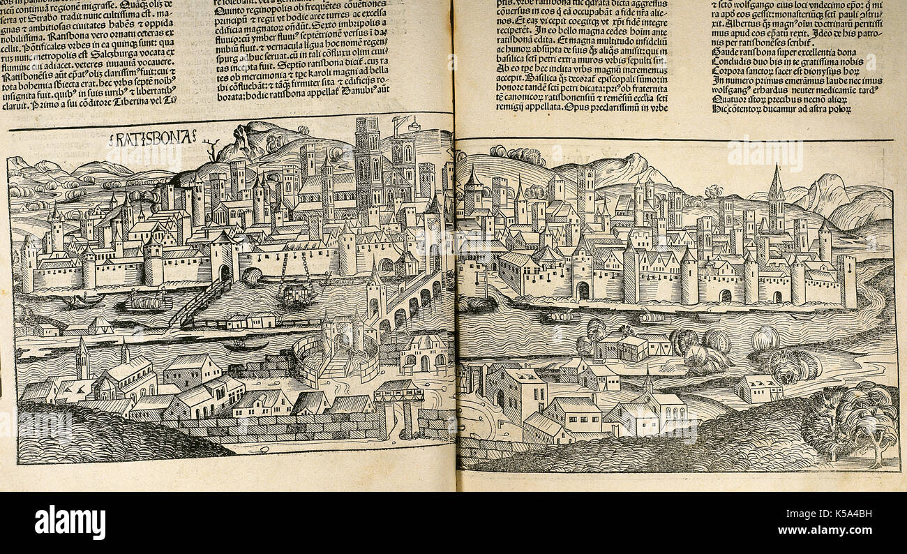 Regensburg (Germany). Engraving. Liber Chronicarum by Hartmann Schedel, 1493. - Stock Image
