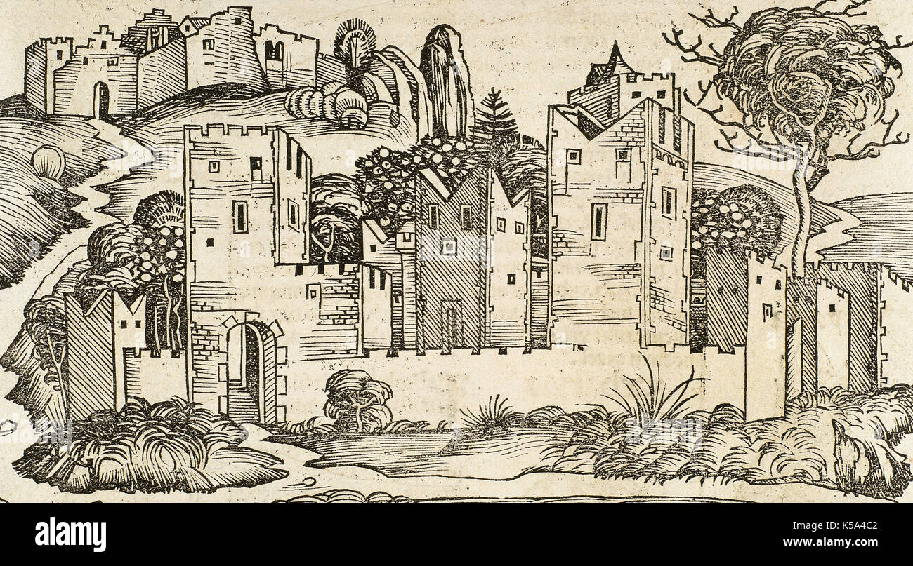 Jericho. Engraving. Liber Chronicarum by Hartmann Schedel, 1493. - Stock Image
