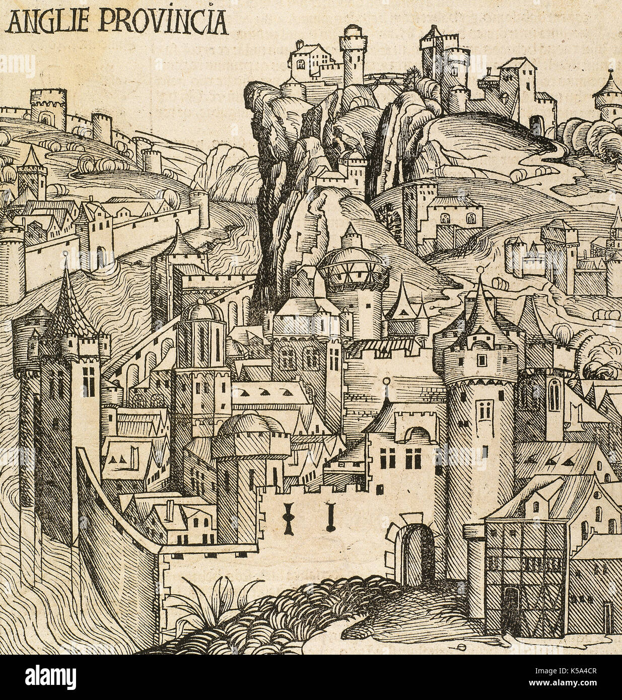 Old London. Walled medieval village. Anglie Provincia, Great Britain. Engraving. Liber Chronicarum by Hartmann Schedel, 1493. - Stock Image