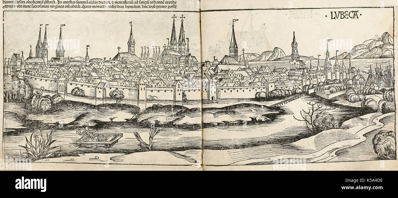 Lubeck (Germany). Engraving. Liber Chronicarum by Hartmann Schedel, 1493. - Stock Image