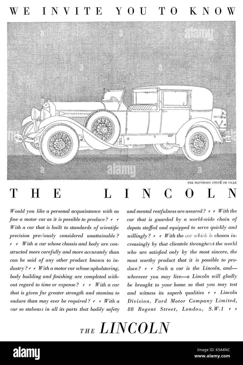 1930 British advertisement for the Lincoln Ford motor car, with an illustration of the Maythorn Coupe De Ville. - Stock Image