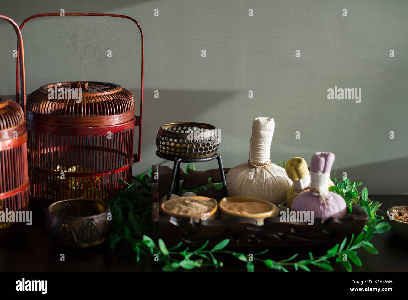 Herbal Compress Balls and other spa ingredients for Thai massage - Stock Image