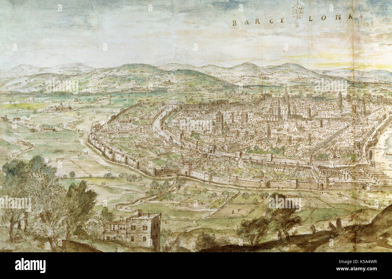 Anton van den Wyngaerde (1510-1571). Panoramic of Barcelona from Montjuic, 1563. Pen drawing. National Library of Austria, Wien. - Stock Image
