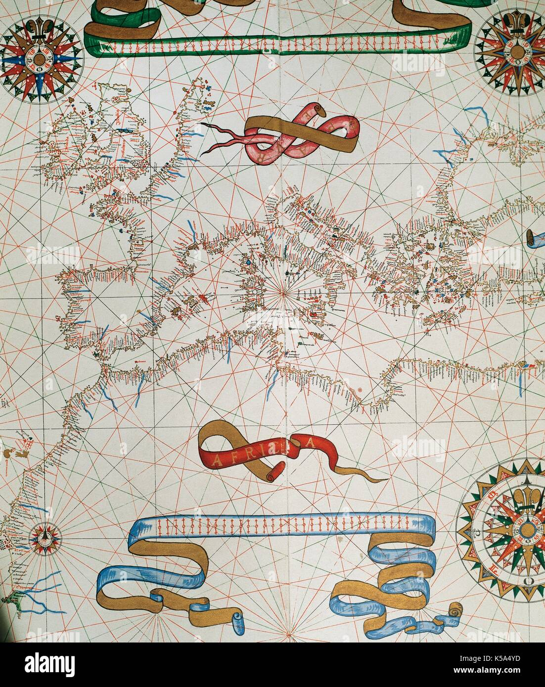 Map of Europe and coasts of the North of Africa. Nautical letter (Portulan) by Joan Martines. Messina, Sicily, 1587. Stock Photo