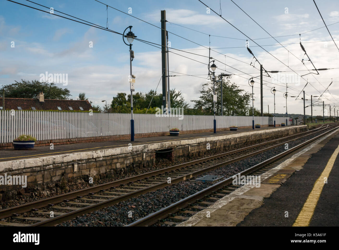 ScotRail Drem station train platform and railway tracks, East Lothian. Scotland, United Kingdom - Stock Image