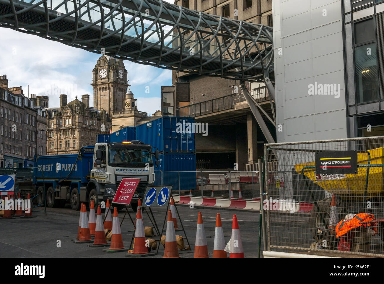 Construction work closes Leith Street, Edinburgh, Scotland, UK, for 10 months, demolishing St James Centre, with Rocco Forte Balmoral Hotel - Stock Image