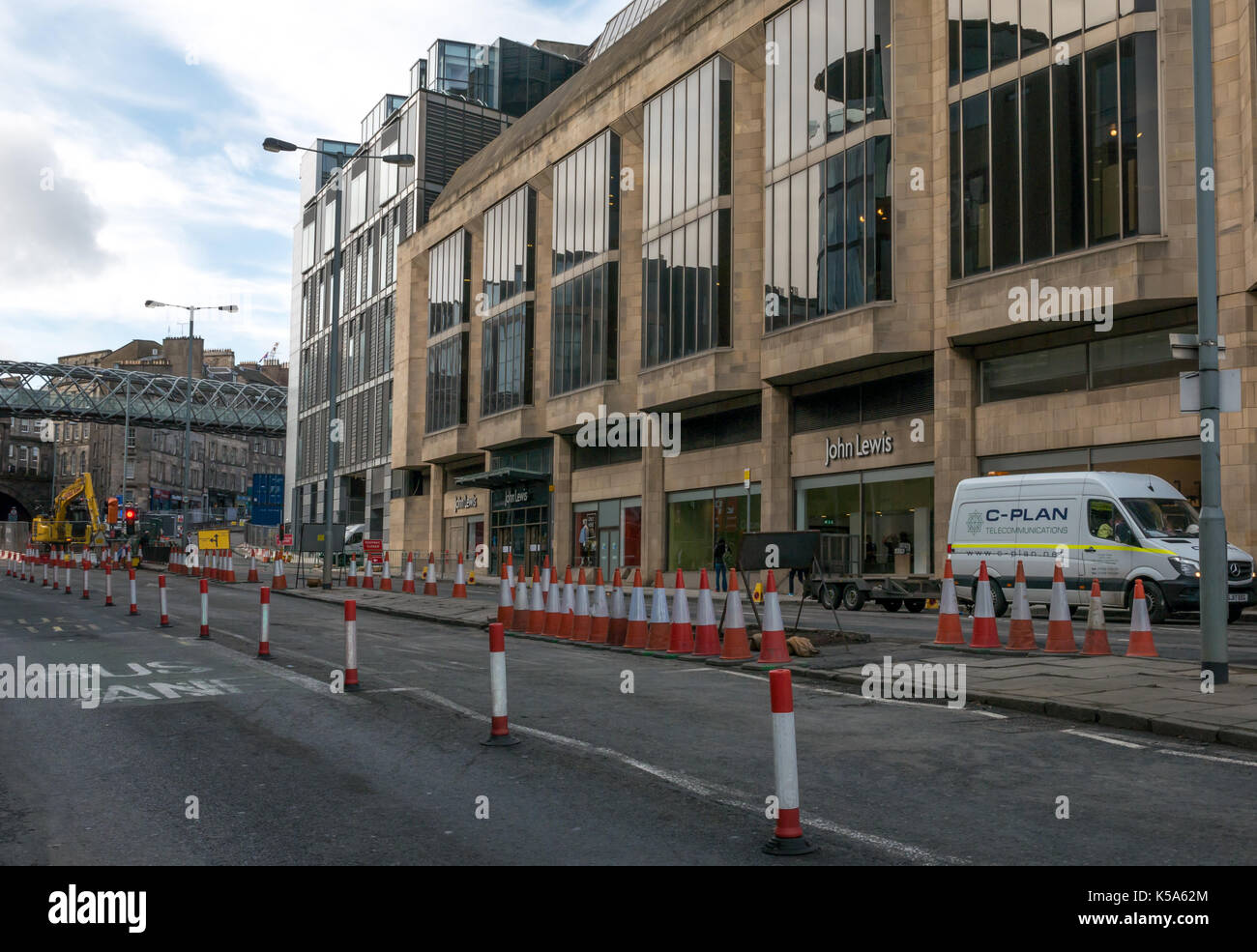 Construction work closes Leith Street, Edinburgh, Scotland, UK, for 10 months, demolishing St James Centre and revamp next to John Lewis - Stock Image