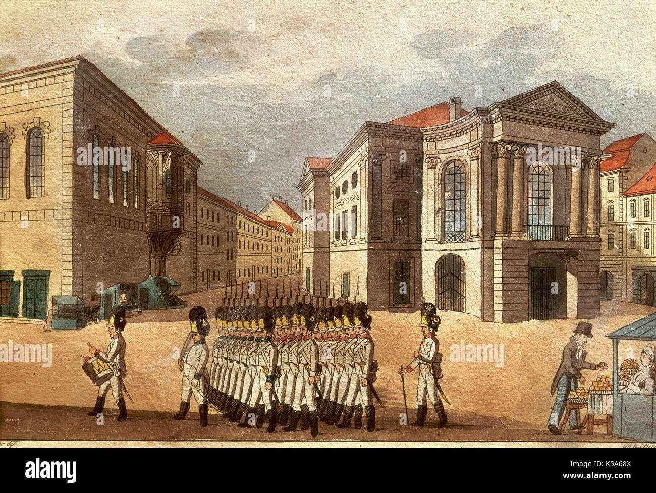 Austro-Hungarian Empire. National Theater of Prague during the Austrian occupation. Troops parading. Lithography. Mozartian Museum, Prague. Czech Republic. - Stock Image