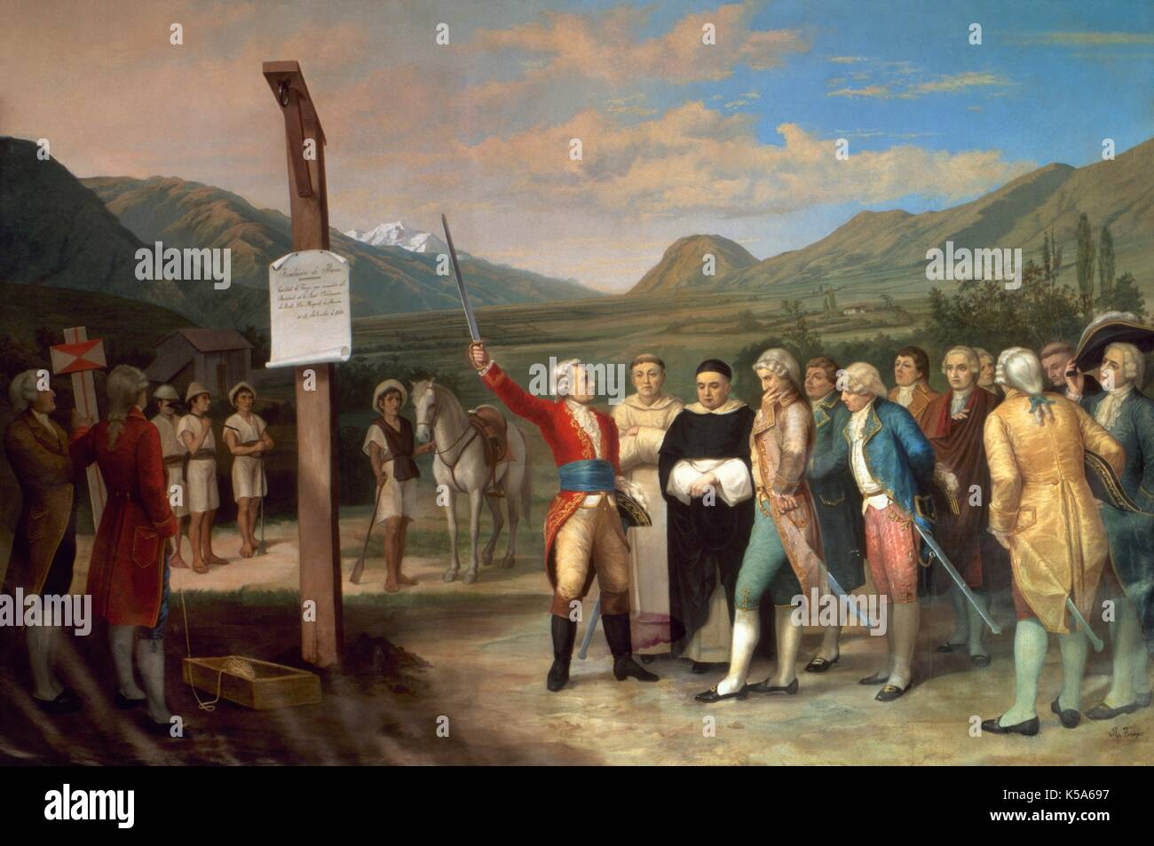 Foundation of San Miguel de Ibarra (now Ibarra), on 28th September 1606, in the Valley of Carangue. north of Ecuador. The Spanish captain Cristobal de Troya, under the orders of the president of The Real Audiencia of Quito, Miguel de Ibarra. Retinue of friars, military and civilians next to a tree that symbolized the Authority and the Justice. Salon Maximo of the town hall of Ibarra (Ecuador). - Stock Image