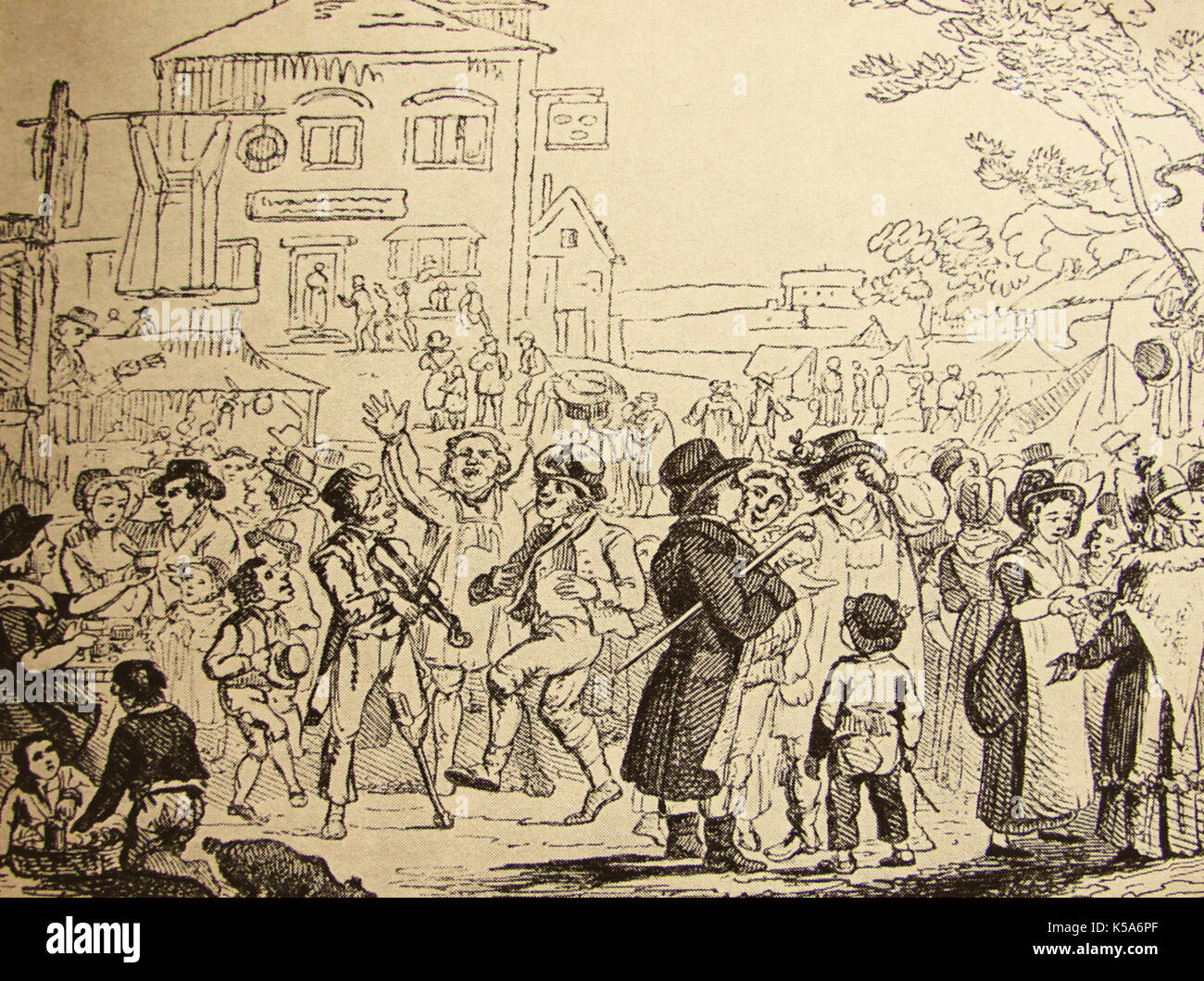 A 17th century Hustings aka Hiring Fair.  in England, where servants, ploughmen, agricultural and shop workers  were hired in a merry fairground atmosphere - Stock Image